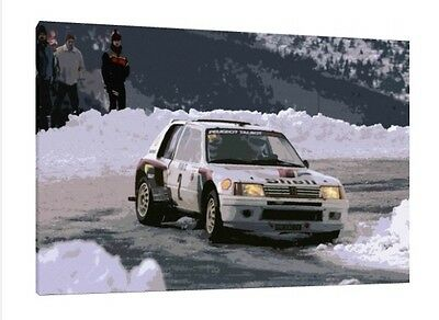 PEUGEOT 205 T16 34X24 INCH FRAMED CANVAS RALLY MOTORSPORT ART PRINT GROUP B