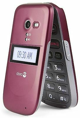 New Doro Phone Easy 620 Red Ee T-Mobile Orange Big Buttons Flip Mobile Phone