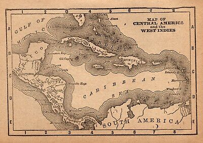 1886 Antique CARIBBEAN Map CENTRAL AMERICA Map Rare Size MINIATURE Map 4317