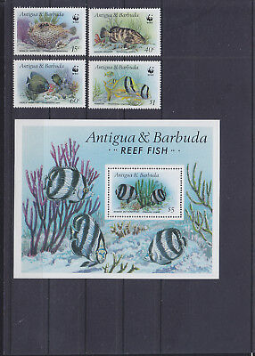 055908 Fische Fish Antigua & Barbuda 1010-13 + Block 123 ** MNH Year 1987