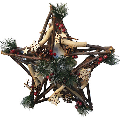 Christmas Foliage Star Shaped  Wreath - 34cm - Stars and Berries