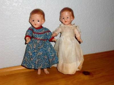 """R&B Doll Co ~ Vintage 1930's Pair of Sisters Composition 8-1/2"""" Dolls"""