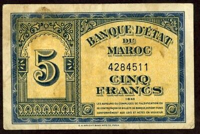 Morocco 5 Francs 1943 Note !!!!! Vg