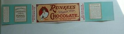 Early Vintage Unused Paper Label Runkel's Vanilla Sweet Chocolate