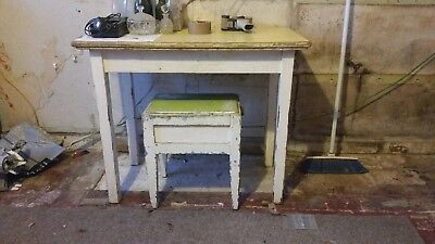 VINTAGE 1930s CHILDS PINE TABLE AND STOOL  - NEEDS SOME TLC- REDUCED IN PRICE