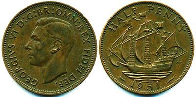 UK GREAT BRITAIN: 1951 GEORGE VI Bronze 1/2 Penny