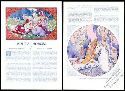 1928 Gustave Mossa gorgeous white horse art & story vintage print article