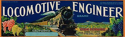 Crate Label Vintage Train Locomotive Railroad Fresno Original Engineer 1950S
