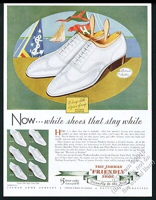 1935 Jarman white wingtip men's shoes & yachting yacht flag art vintage print ad