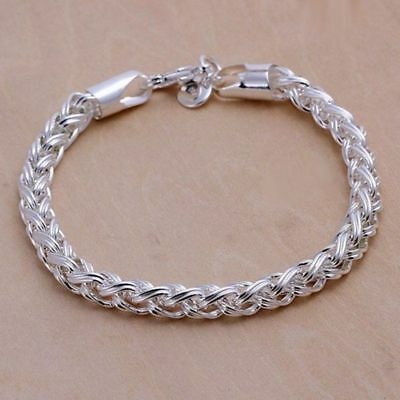 Fashion 925Sterling Solid Silver Jewelry Cross Link Bracelet For Women H070