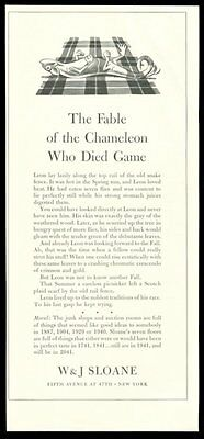 1941 W&J Sloane NYC fable of the Chameleon story & art vintage print ad