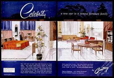 1956 Century furniture Celebrity modern Ray Sobota dining table chair sofa ad