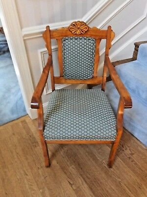 Antique Hand Carved Upholstered Arm Chair Extinct Wood Pennsylvania