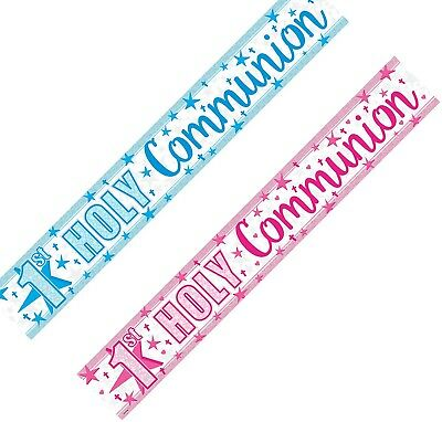 9ft 1st First Holy Communion Sparkly Foil Pink/Blue Banner Party Wall Decoration