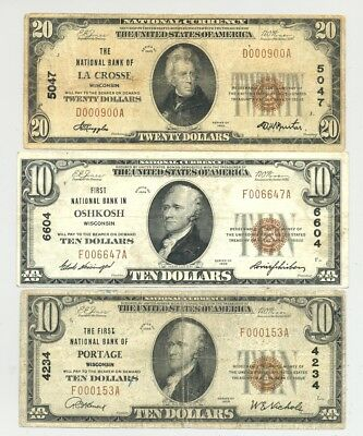 1929 National Banknotes from Portage, LaCrosse and Oshkosh, Wisconsin no reserve