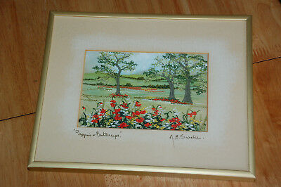 POPPIES & BUTTERCUPS - Margaret Swales embroidery picture, Nielsen framed