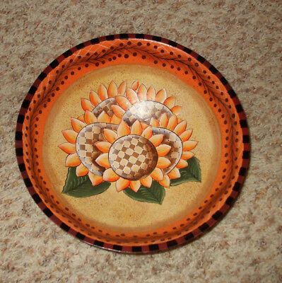 """Mindy Cain Wooden Bowl With Sunflowers 9 1/2"""""""