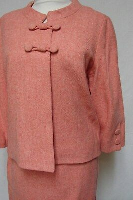 SUPER CUTE 1960s VINTAGE SALMON COLOR WOOL CHAMBRAY HAND MADE SUIT