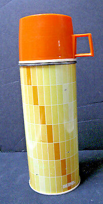 Vintage Thermos, King Seeley, Metal, Small Mouth, 1 Pint, Op Art, Tan and Orange