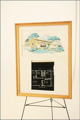 Vintage mid century modern maurille prevost french cafe framed mid century modern ranch house blueprint framed advertising eichler 50s wall art malvernweather Image collections