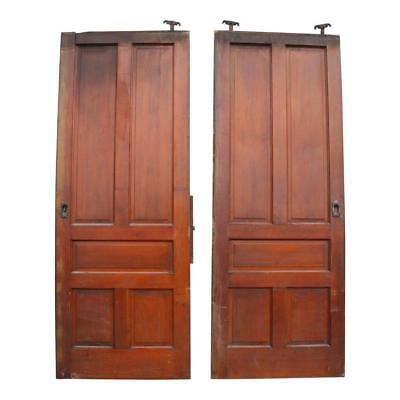 Vintage LARGE WOOD DOORS sliding barn antique pair roller architectural salvage