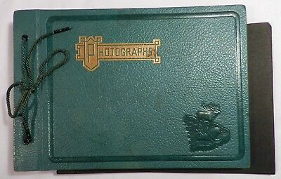 Vtg 1940s Embossed ELK Photo Snapshot Photograph ALBUM Blank Empty 7x10 Green