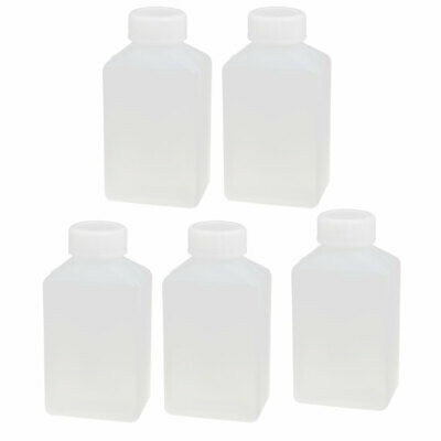 100ml HDPE Plastic Rectangle Shaped Laboratory Experiment Bottle White 5pcs