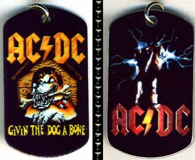 """AC/DC Rock N Roll Color Logo Aluminum Dog Tag Necklace w/30"""" Ballchain NEW"""