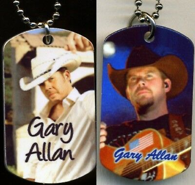 """Gary Allan Country Color Photo Aluminum Dog Tag Necklace w/30"""" Ballchain NEW"""