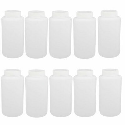 10pcs 1000ml HDPE Plastic Round Bottle white 90mmx180mm