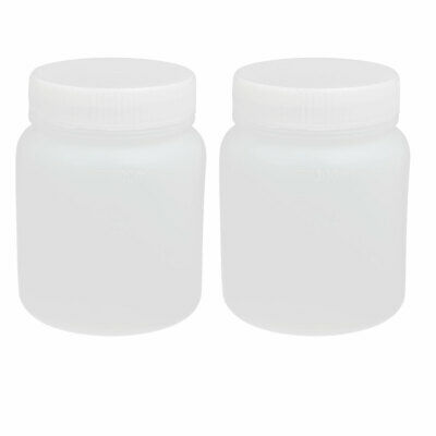 2pcs 300ml PE Plastic Wide Mouth Sealed Liquid Storage Bottle Container White