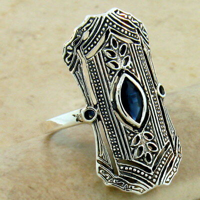 Art Deco Genuine Sapphire 925 Sterling Silver Antique Style Ring Size 8,   #1093