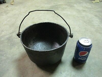 "Rare Small Antique Cast Iron Peyote Drum Bean Pot Kettle Cauldron 8"" Across"