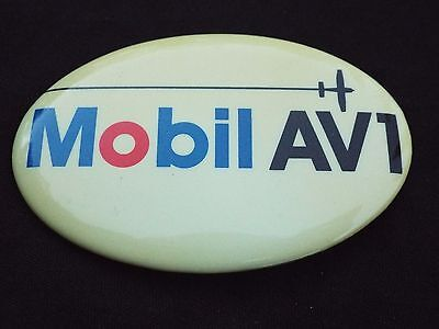 Vintage MOBIL AV1 Advertising Pinback Button Gas Oil MOBILOIL Airplane Aviation