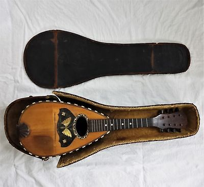 1800s antique MANDOLIN mother of pearl WOOD inlay leather Case music instrument