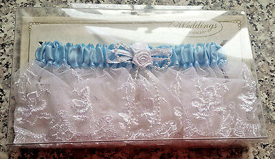 White Embroidered Lace Garter with Rosette Beading Blue Satin - NEW ~ Fast Ship!