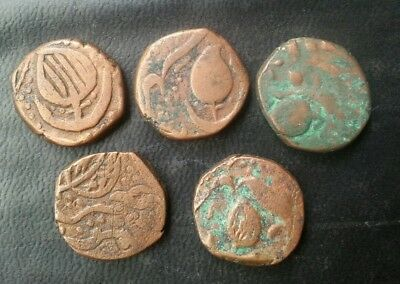 India Sikh Empire 1 Paisa Copper Lot Of 5 Coins L@@k!