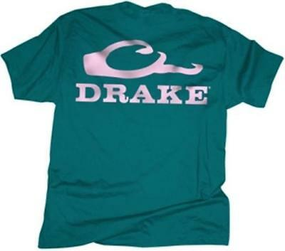 Drake Outdoors DT1961TPN-S Women's Small Waterfowl S/S Logo T-Shirt Teal/Pink