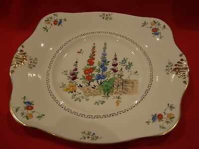 Art Deco Tuscan China Hand Painted ~  Hollyhock  ~  Square Cake / Sandwich Plate