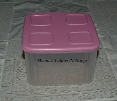 Tupperware Clear Mates Medium Square SIZE #3 Container Baby Pink Lid