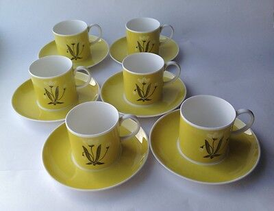 Six Susie Cooper Coffee Cans & Saucers Orchids Pattern Yellow PRE-WEDGEWOOD