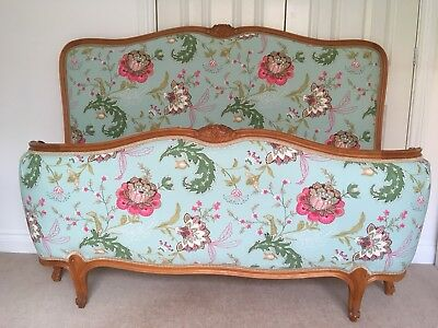 Beautiful French Vintage Corbeille Double Bed - Newly Upholstered