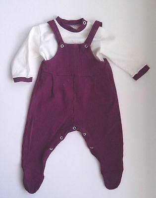 1970s Baby Two Piece Playsuit Red and Blue pattern  size:  Birth to 20 lbs
