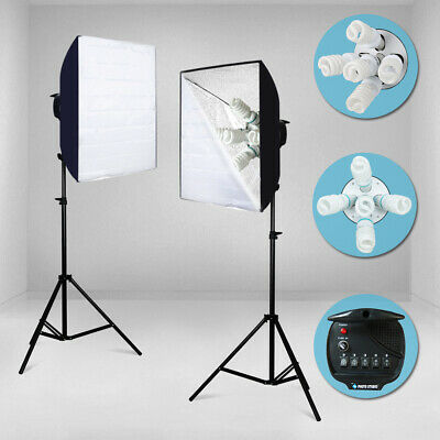 Softbox Light Kit Photo Studio Video Photography Stand Continuous Lighting 2000W