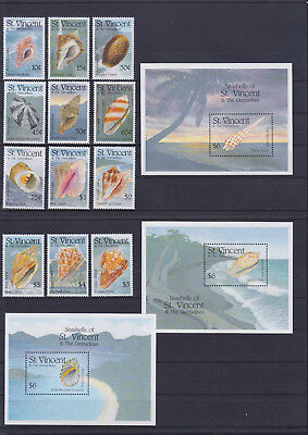 056021 Muscheln Shells St Vincent 2408-19 + Block 274/76 ** MNH Year 1993