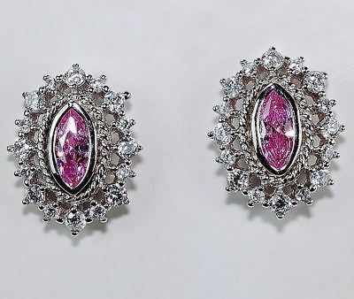 4CT Pink Sapphire & White Topaz 925 Sterling Silver Earrings Jewelry, T5-14