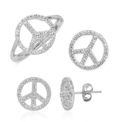 TJC Diamond Peace Ring, Pendant and Stud Earrings in Sterling Silver
