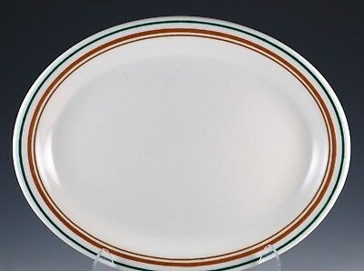 "Vintage Buffalo China Restaurant Ware 8"" Oval Plate Green/Brown Stripes Bands"
