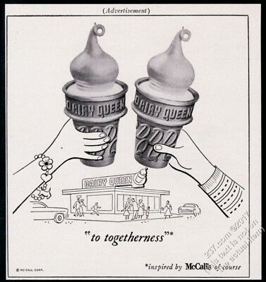 1956 Dairy Queen ice cream cones toast to togetherness vintage print ad
