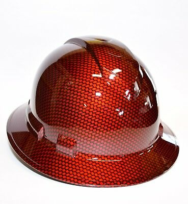 Custom Ridgeline Wide Brim Hard Hat Hydro Dipped in Candy Red Big Weave Carbon